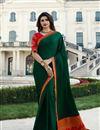 image of Prachi Desai Designer Fancy Fabric Dark Green Party Wear Saree With Border Work