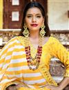 photo of Embroidery Work On Wedding Wear Bridal Lehenga In Yellow Fancy Fabric With Blouse