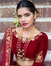 photo of Velvet Fabric Party Wear Lehenga Choli In Maroon With Embroidery Work