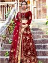 image of Velvet Fabric Party Wear Lehenga Choli In Maroon With Embroidery Work