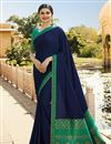 image of Prachi Desai Winsome Fancy Fabric Navy Blue Festive Wear Saree