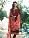 image of Prachi Desai Maroon Straight Cut Salwar Suit With Work In Georgette
