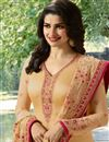 photo of Prachi Desai Georgette Straight Cut Cream Dress With Embroidery
