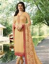 image of Prachi Desai Georgette Straight Cut Cream Dress With Embroidery