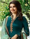 photo of Prachi Desai Teal Color Georgette Straight Cut Fancy Embroidered Suit