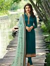 image of Prachi Desai Teal Color Georgette Straight Cut Fancy Embroidered Suit