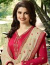 photo of Prachi Desai Crimson Color Georgette Straight Cut Fancy Embroidered Suit