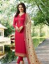 image of Prachi Desai Crimson Color Georgette Straight Cut Fancy Embroidered Suit