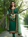 image of Prachi Desai Georgette Dark Green Straight Cut Suit With Work