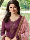 photo of Prachi Desai Georgette Burgundy Color Straight Cut Fancy Embroidered Suit