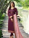 image of Prachi Desai Straight Cut Georgette Salwar Kameez With Fancy Work In Burgundy Color