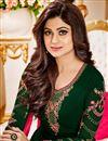 photo of Shamita Shetty Dark Green Straight Cut Embroidered Churidar Suit