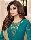 photo of Shamita Shetty Teal Georgette Fancy Party Wear Straight Churidar Suit