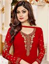 photo of Shamita Shetty Red Georgette Straight Cut Churidar Dress