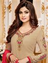 photo of Best Selling Shamita Shetty Cream Georgette Fancy Party Wear Straight Churidar Suit