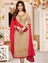 image of Best Selling Shamita Shetty Straight Cut Embellished Cream Georgette Churidar Dress