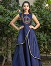 image of Navy Blue Party Wear Fancy Taffeta Silk Fabric Readymade Gown