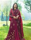 image of Prachi Desai Burgundy Color Embroidered Party Wear Anarkali Suit In Georgette
