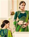 photo of Georgette Party Wear Green Saree With Lace Border And Fancy Blouse