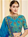 photo of Georgette Party Wear Sky Blue Saree With Lace Border And Fancy Blouse