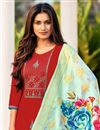photo of Red Color Cotton Fabric Embroidered Daily Wear Fancy Salwar Kameez
