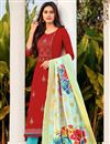 image of Red Color Cotton Fabric Embroidered Daily Wear Fancy Salwar Kameez