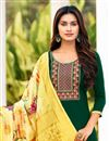 photo of Cotton Fabric Green Color Embroidered Casual Wear Trendy Salwar Suit