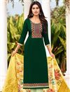 image of Cotton Fabric Green Color Embroidered Casual Wear Trendy Salwar Suit