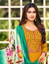 photo of Embroidered Mustard Color Cotton Fabric Office Wear Salwar Kameez
