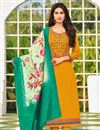 image of Embroidered Mustard Color Cotton Fabric Office Wear Salwar Kameez