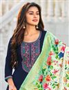 photo of Cotton Fabric Embroidered Daily Wear Fancy Salwar Kameez In Navy Blue Color