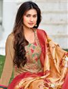 photo of Chikoo Color Embroidered Casual Wear Trendy Salwar Suit In Cotton Fabric