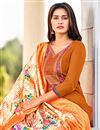 photo of Rust Color Cotton Fabric Embroidered Daily Wear Fancy Salwar Kameez