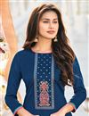 photo of Cotton Fabric Blue Color Embroidered Casual Wear Trendy Salwar Suit