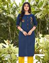 image of Casual Wear Fancy Blue Embroidered Kurti With Bottom In Cotton Fabric