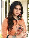 photo of Cotton Fabric Casual Wear Fancy Peach Embroidered Kurti With Bottom