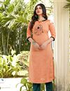 image of Cotton Fabric Casual Wear Fancy Peach Embroidered Kurti With Bottom