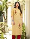 image of Fancy Yellow Casual Wear Embroidered Kurti With Bottom In Cotton Fabric