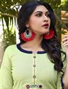 photo of Cotton Fabric Casual Wear Fancy Sea Green Embroidered Kurti With Bottom