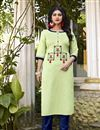 image of Cotton Fabric Casual Wear Fancy Sea Green Embroidered Kurti With Bottom