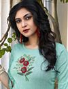 photo of Casual Wear Fancy Cyan Embroidered Kurti With Bottom In Cotton Fabric