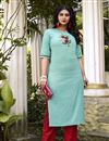image of Casual Wear Fancy Cyan Embroidered Kurti With Bottom In Cotton Fabric