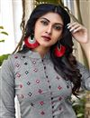 photo of Fancy Casual Wear Grey Cotton Fabric Embroidered Kurti With Bottom