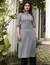 image of Fancy Casual Wear Grey Cotton Fabric Embroidered Kurti With Bottom