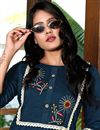 photo of Fancy Navy Blue Color Festive Wear Embroidered Kurti With Pant In Art Silk Fabric