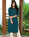 image of Teal Color Festive Wear Art Silk Fabric Fancy Embroidered Kurti With Pant