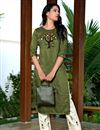 image of Fancy Festive Wear Mehendi Green Color Art Silk Fabric Embroidered Kurti With Pant