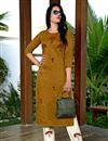 image of Festive Wear Fancy Mustard Color Embroidered Kurti With Pant In Art Silk Fabric
