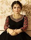 photo of Drashti Dhami Sangeet Wear Georgette Black Floor Length Embroidered Anarkali Dress