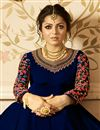 photo of Drashti Dhami Party Wear Embellished Georgette Blue Long Floor Length Anarkali Suit